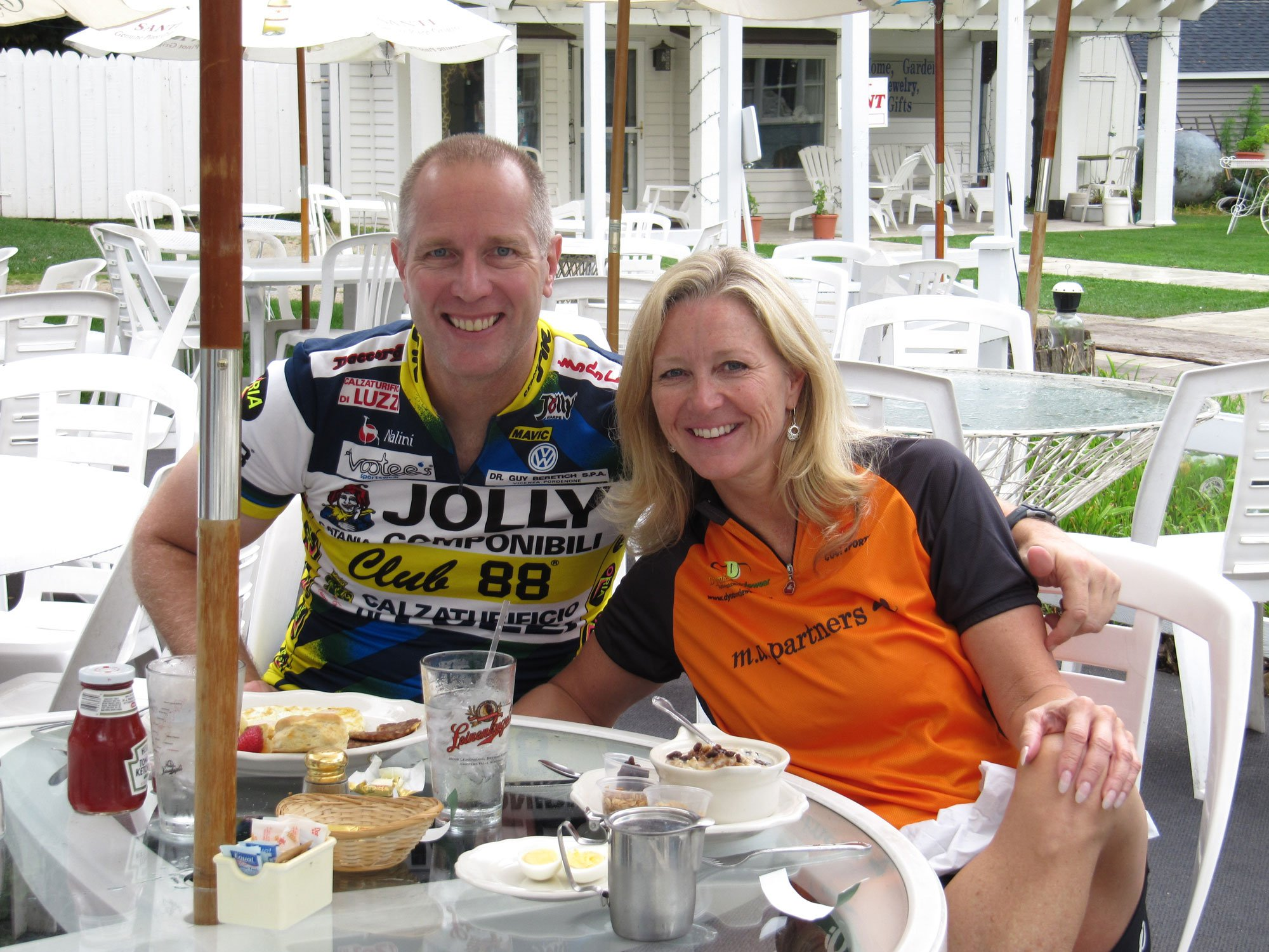 September 2009 - Just a few months into dating; here we are enjoying a pre-ride breakfast at Sunshine Café in Door County Wisconsin