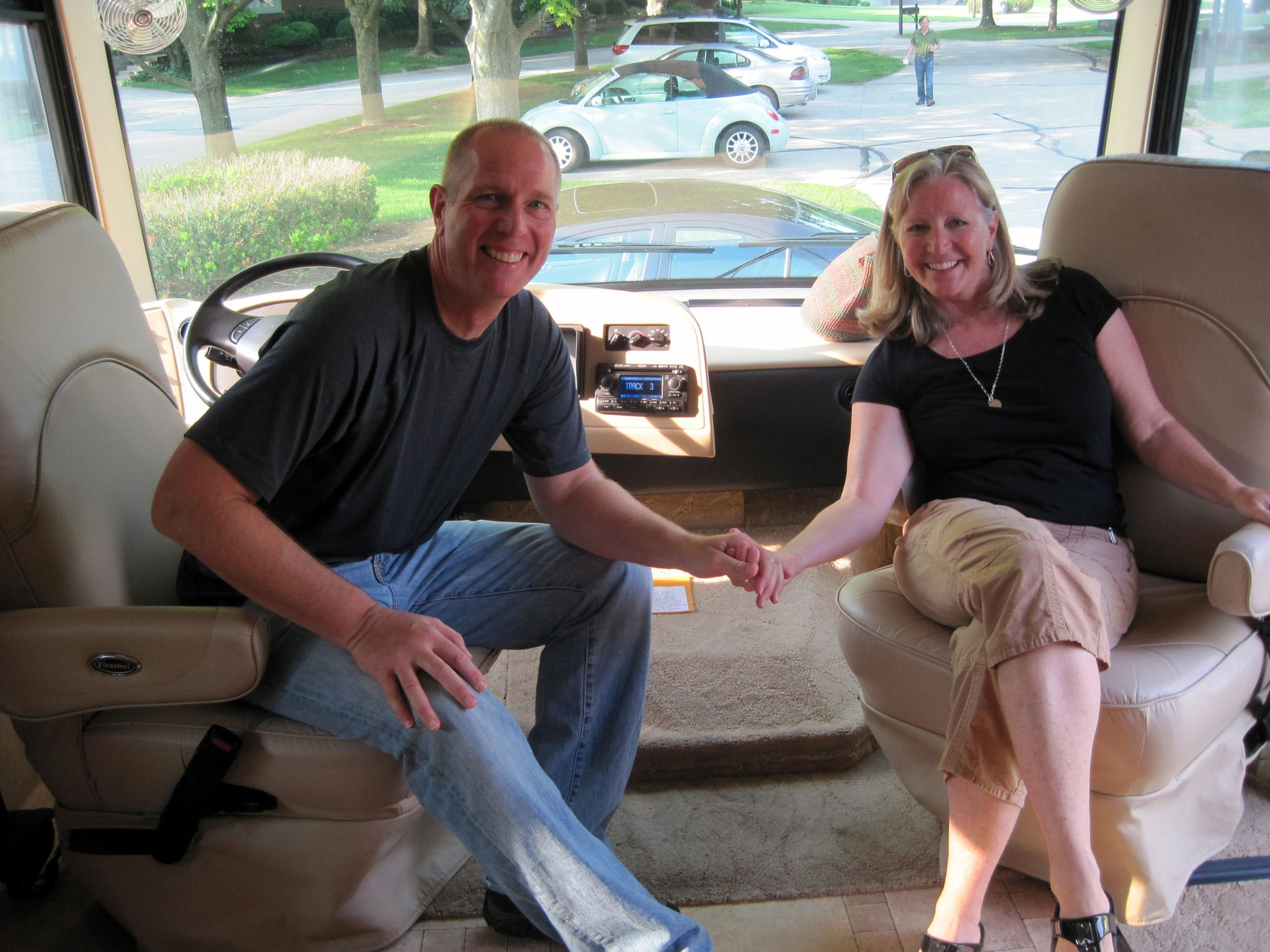 """May 2013 - Proud owners of our new RV; one year away from becoming """"full-timers"""""""
